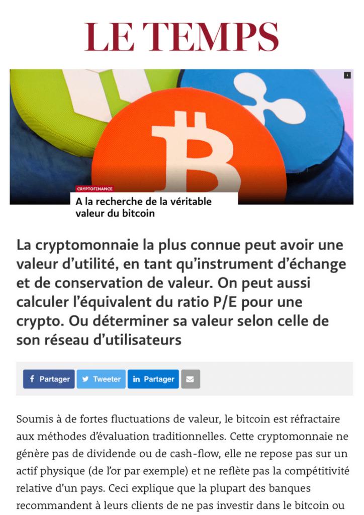 Le Temps A La Recherche De La Veritable Valeur Du Bitcoin Vision